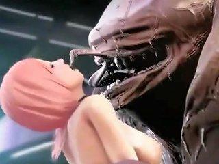 3d Monstrous Alien Ruins Teen Babe
